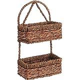 2 Tier Brown Woven Seagrass Wall Hanging Organization Storage Basket