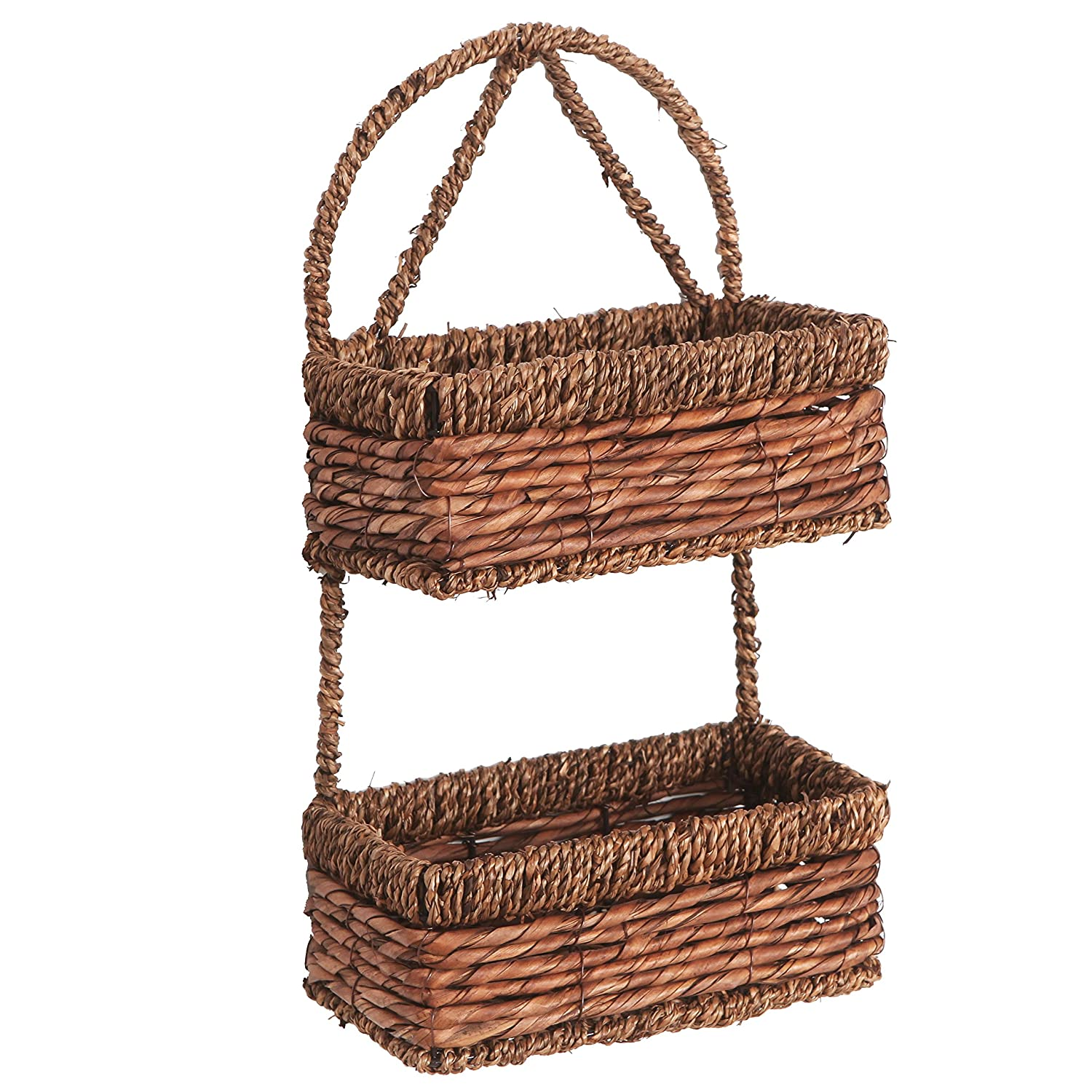 MyGift Hand-woven Seagrass 14-Inch Wall Hanging 2-Tier Storage Basket, Brown