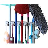 Mop holder and Broom Holder, 5 slot position with 6 hooks garage storage Holder up to 11 Tools wall mounted, organize ideas- by MARZ™
