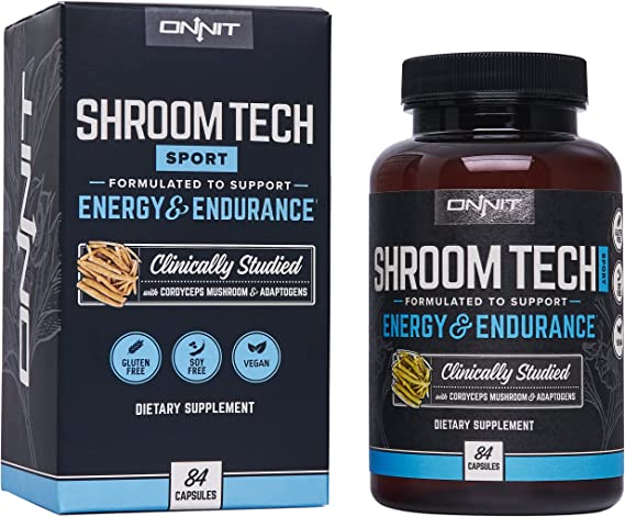 Onnit Shroom TECH Sport (84ct) | All Natural Pre-Workout Supplement with Ashwagandha, Cordyceps Mushroom, and Rhodiola Rosea