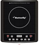 Butterfly Glass Top and ABS Induction Cook Stove, Black