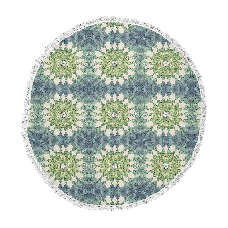 Kess InHouse Art Love Passion Forest Leaves Pattern Green Geometric Round Beach Towel Blanket