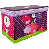 Baby Grow Children Storage Box Folding Stool Under Lid Padded Seat Large (Timer Doll)