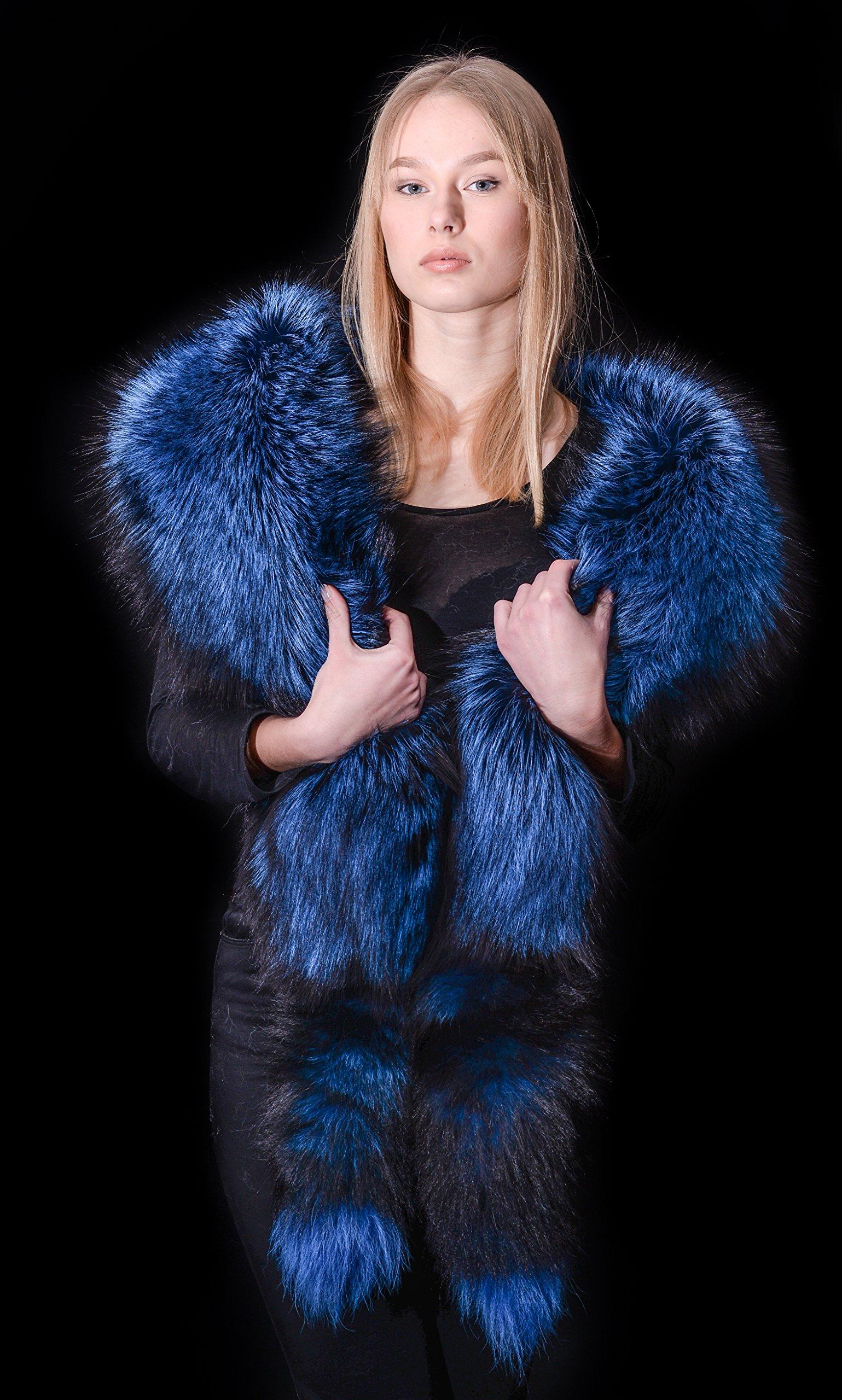 Cobalt Blue Silver Fox Fur Handmade Boa Stole Shawl + Tails