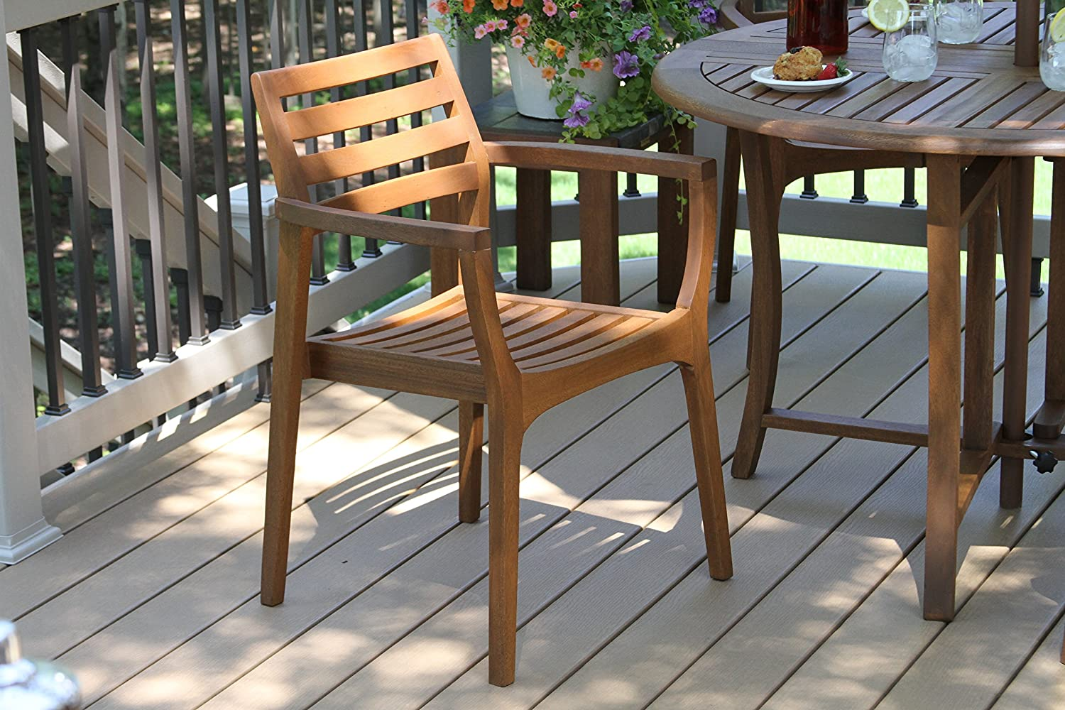 Amazon.com : Outdoor Interiors Stacking Chairs, Brown, Set Of 4 : Garden U0026  Outdoor