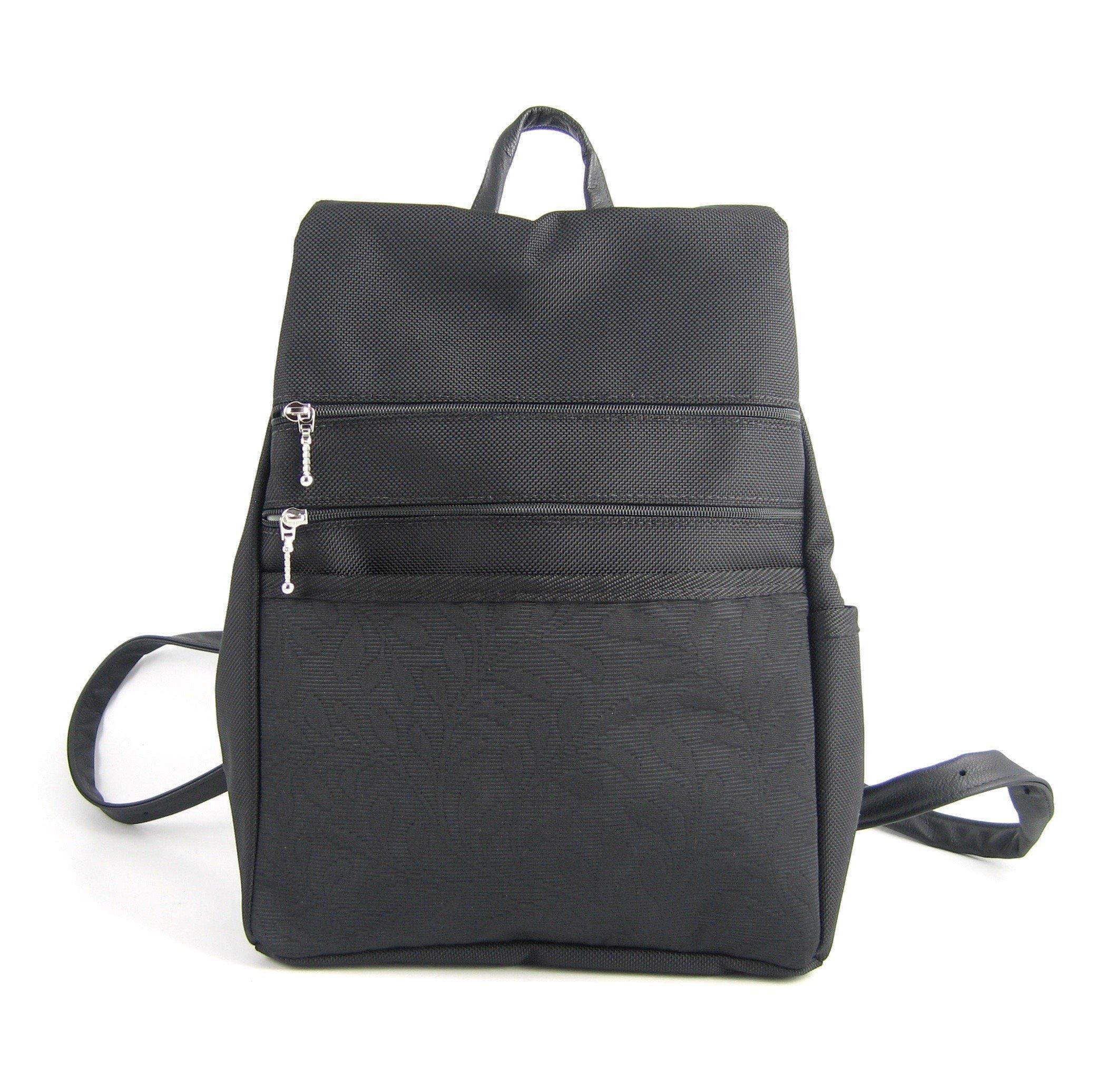 GreatBags Med Backpack Purse, Black Side Entry G20L