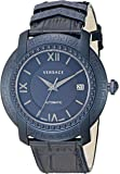 Versace Men's 'DV-25' Swiss Automatic Stainless Steel and Leather Casual Watch, Color:Blue (Model: V13020016)
