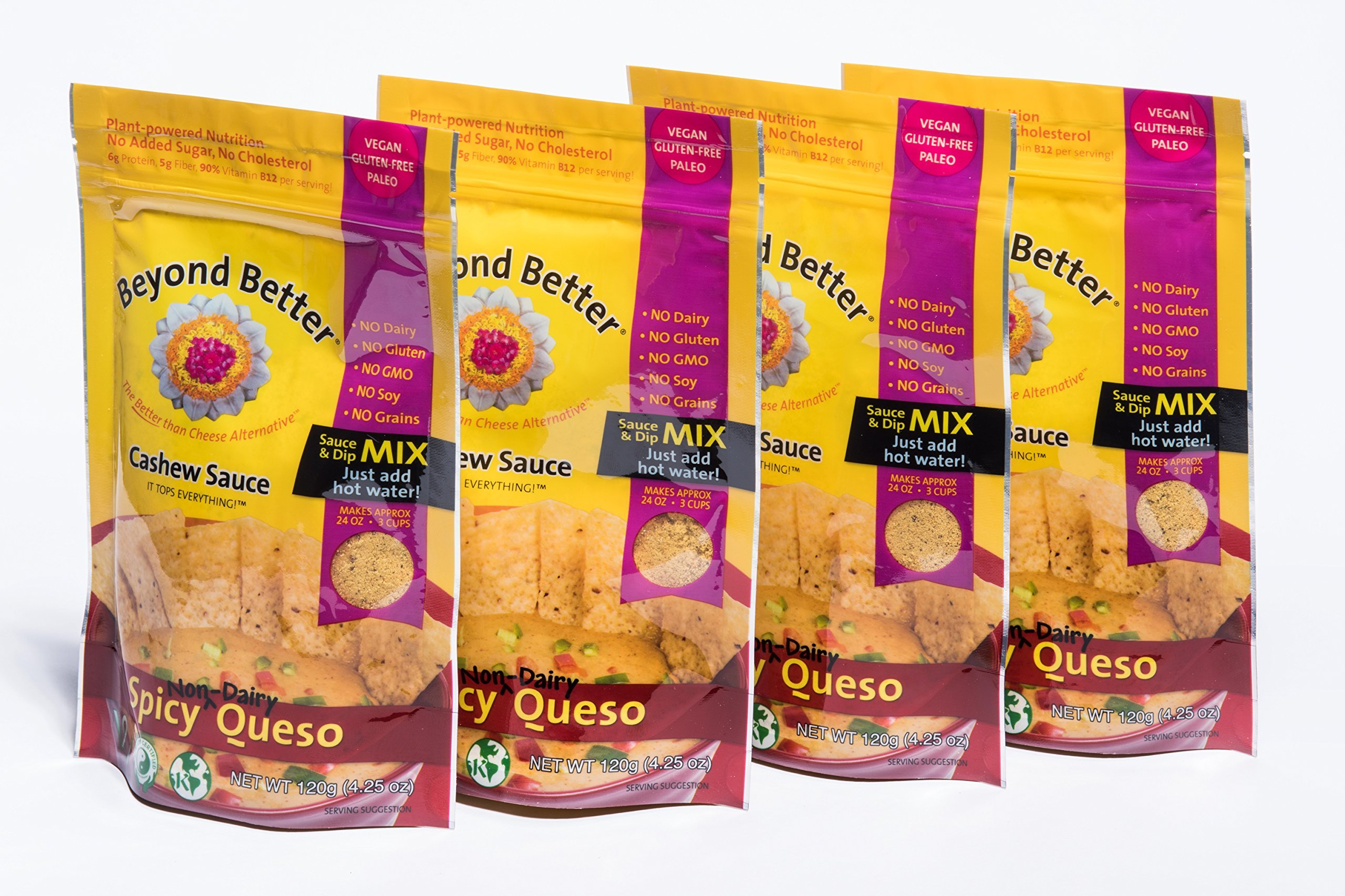Beyond Better Cashew Spicy Queso Cheese Alternative (4 Pack) Gluten Free Soy Free Grain Free by Beyond Better
