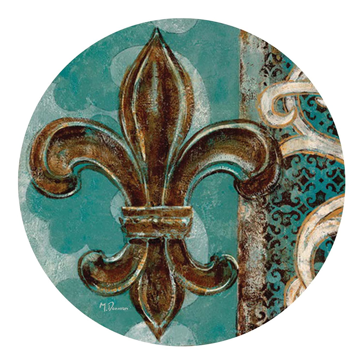 Amazon.com | Thirstystone Drink Coaster Set, Teal Fleur de Lis: Coasters
