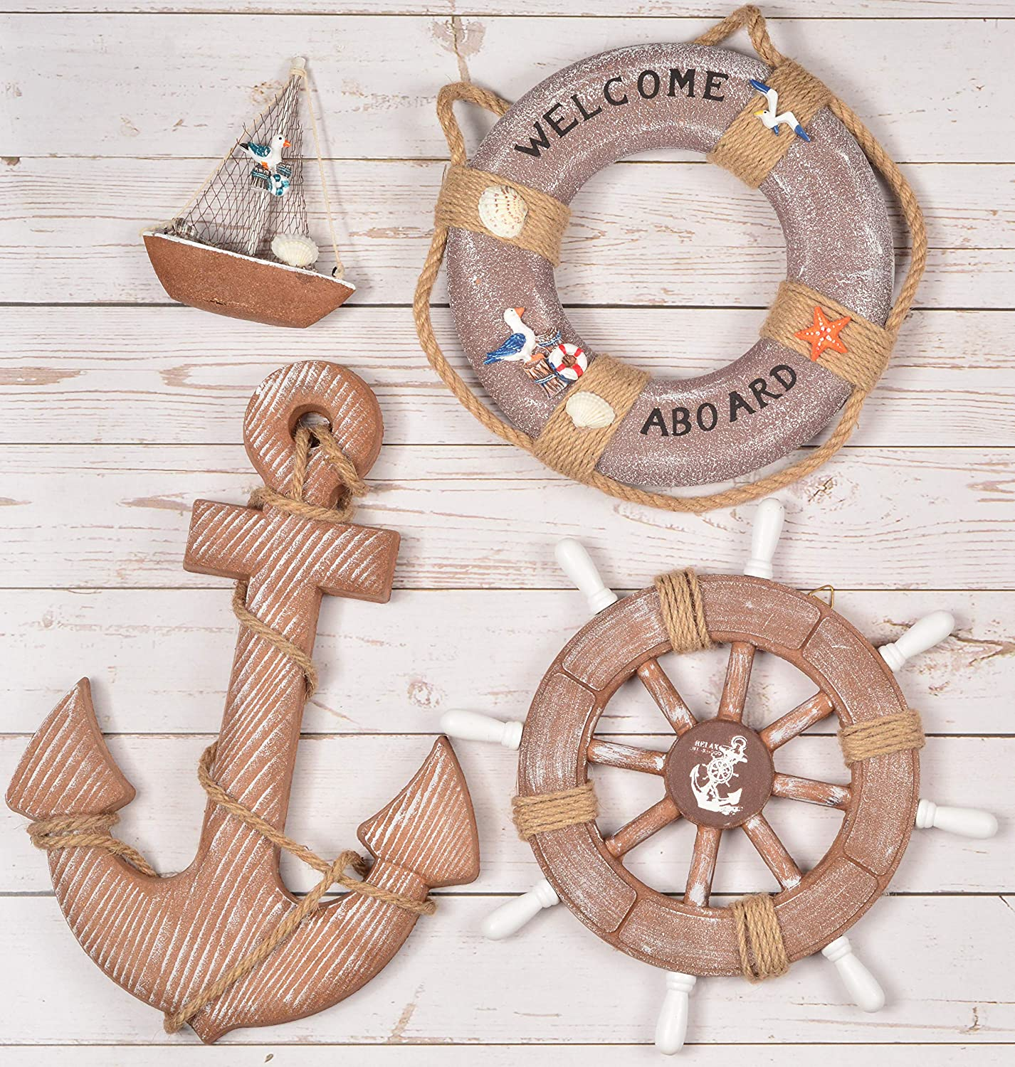 WOODEN NAUTICAL LIGHTHOUSE ANCHOR WALL HANGING ORNAMENT, BEACH WOODEN BOAT SHIP STEERING WHEEL WALL DECOR, NAUTICAL LIFE RING WALL AND DOOR HANGING ORNAMENT PLAQUE (coffee)