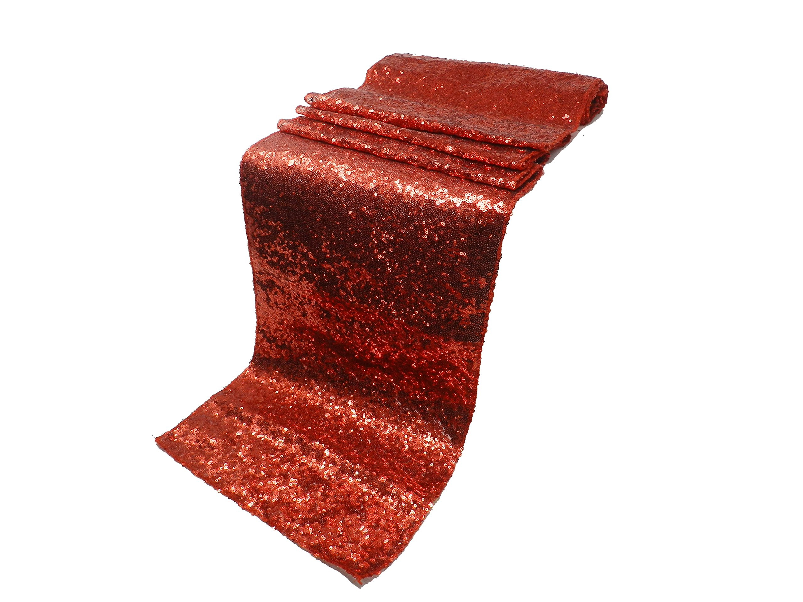 Elina Home 13'' x 108'' Glitter Sequin Table Runner,Wedding Banquet Kitchen Decoration(Pack of 15,Red)