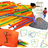 Skoolzy Straw Structures Interlocking Building Connecting Engineering Construction Kit - 200 Pc Straws and Connectors STEM Set Preschool Fine Motor Skill Toys for Girls & Boys - Free Activity Download