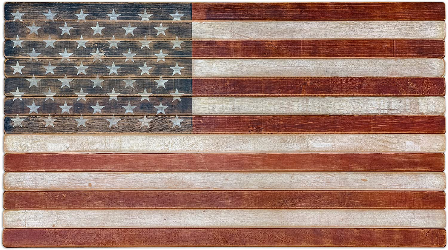 """American Echoes Vintage United States Flag Wall Art Authentic 13 Stripes 50 Stars US - Handcrafted Patriotic Wall Décor Made in USA (42"""" X 24"""")"""