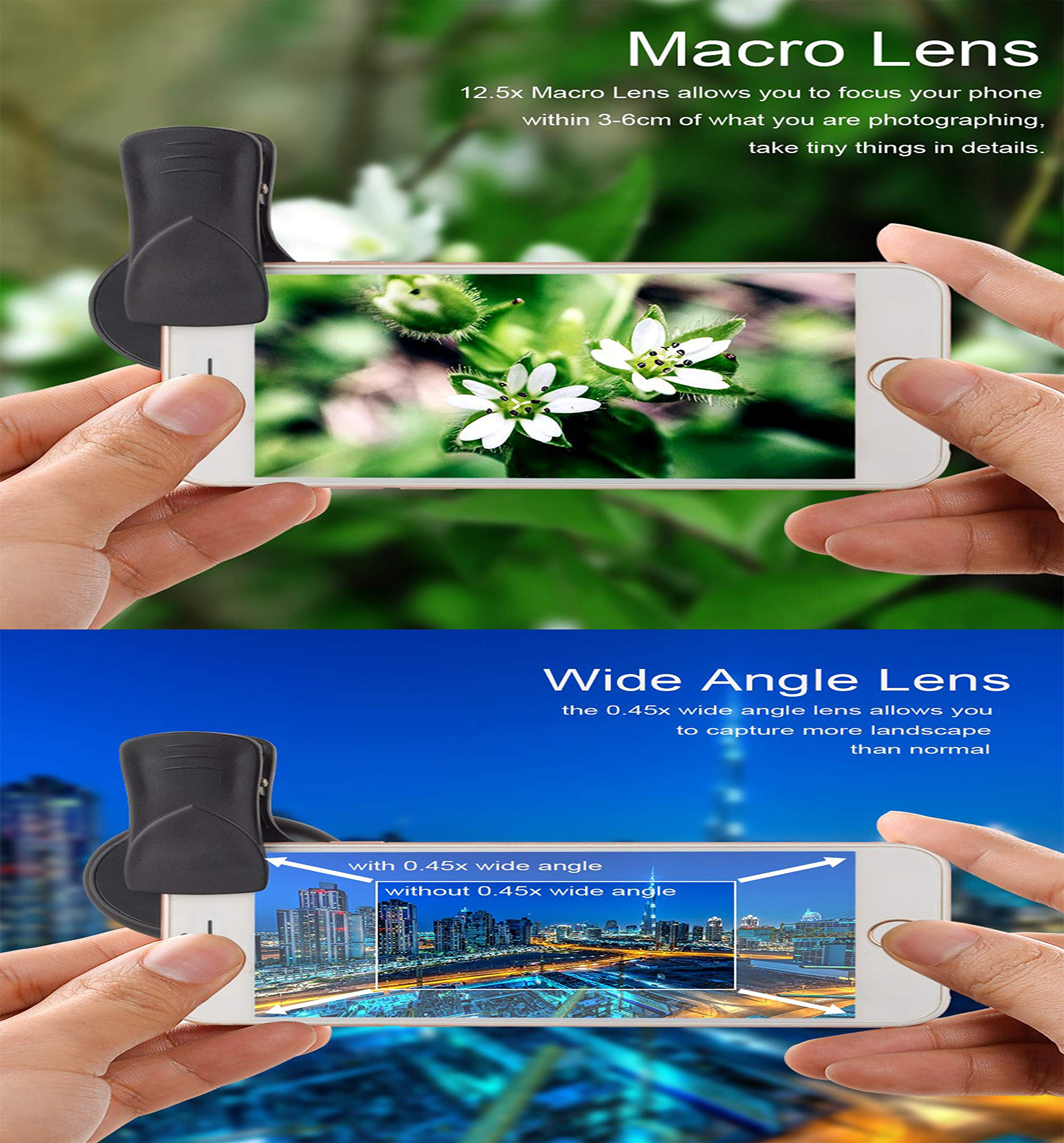 PIANUO Pro Lens Kit for iPhone and Android 0.45X Super Wide Angle Lens & 12.5X Macro Lens 2 in 1 HD Cell Phone Camera Lens Kit for iPhone X 8 7 6S 6S Plus 6 5S Samsung Android Smartphones