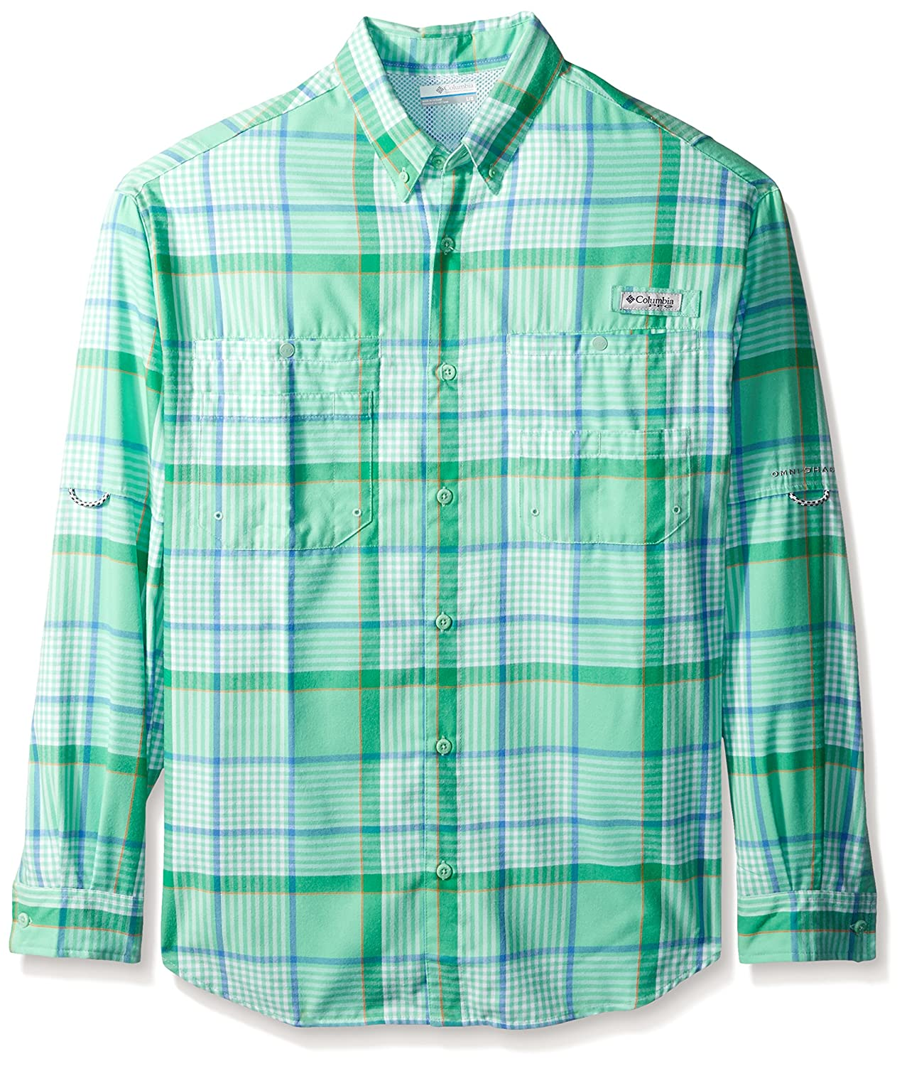 Columbia Men's Tamiami Flannel Long Sleeve Shirt, Kelp Plaid, X-Large
