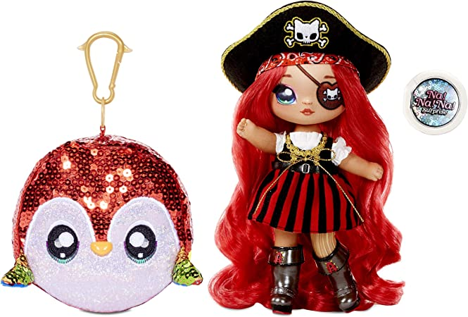 """MGA Entertainment Na Na Na Surprise 2-in-1 Fashion Doll and Sparkly Sequined Purse Sparkle Series – Becky Buckaneer, 7.5"""" Pirate Doll"""