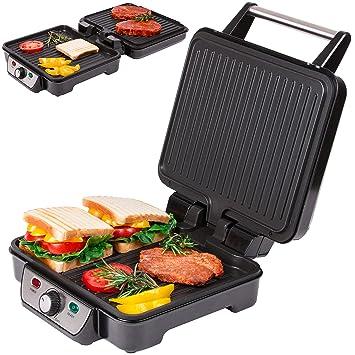 Parrilla eléctrica de mesa sandwichera parrilla de contacto con ángulo de abertura de 180° y temperatura regulable en forma continua | parrilla ...