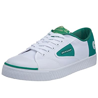 Dunlop Green Flash Canvas Trainers (Laced) - White/Green - US-13
