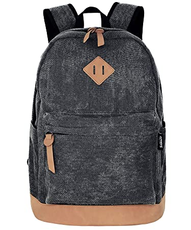 a5e3a9a2f2 Amazon.com | Unisex Lightweight Canvas College Backpacks Travel Hiking  Laptop Backpack Rucksack Schoolbags School Book bag Daypack (Black Washed)  | ...