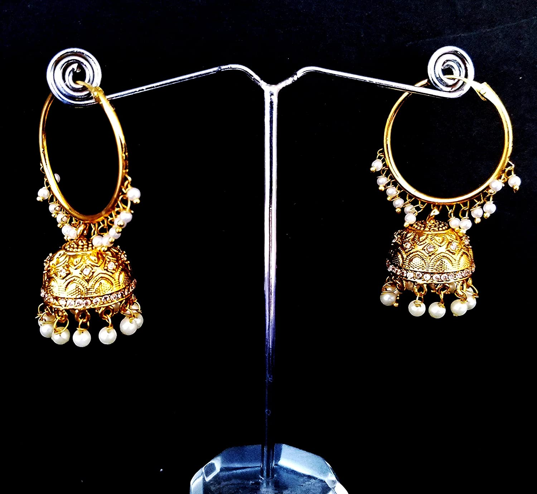 Buy Primaz Golden Polki JHUMKA BAALI Bollywood Partywear Earring
