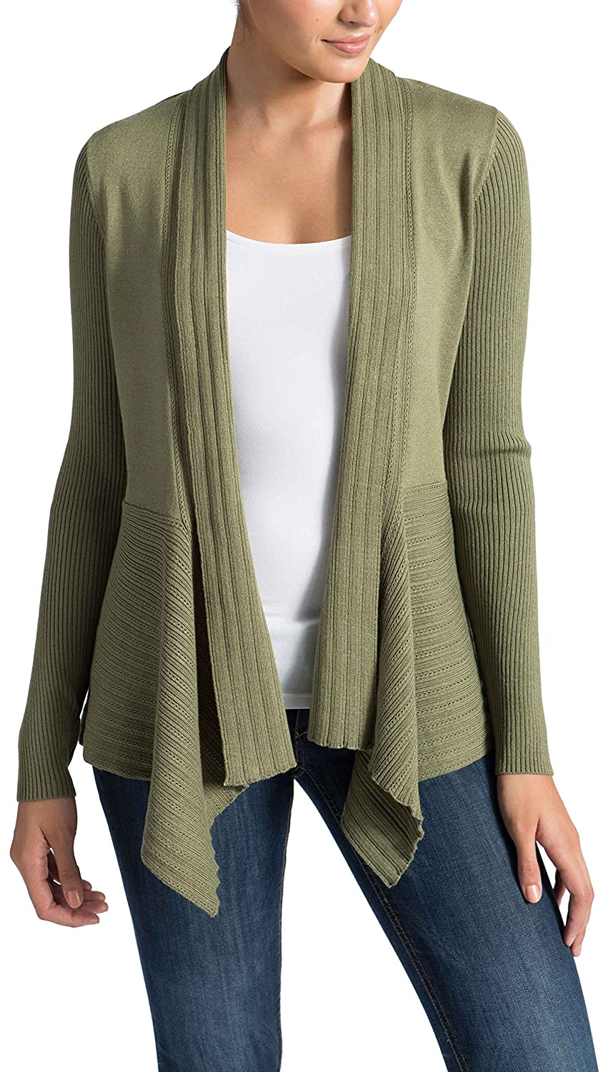 89th&Madison Long Sleeve Draped Open Cardigan Sweater with Pointelle Details and Ribbed Sleeves