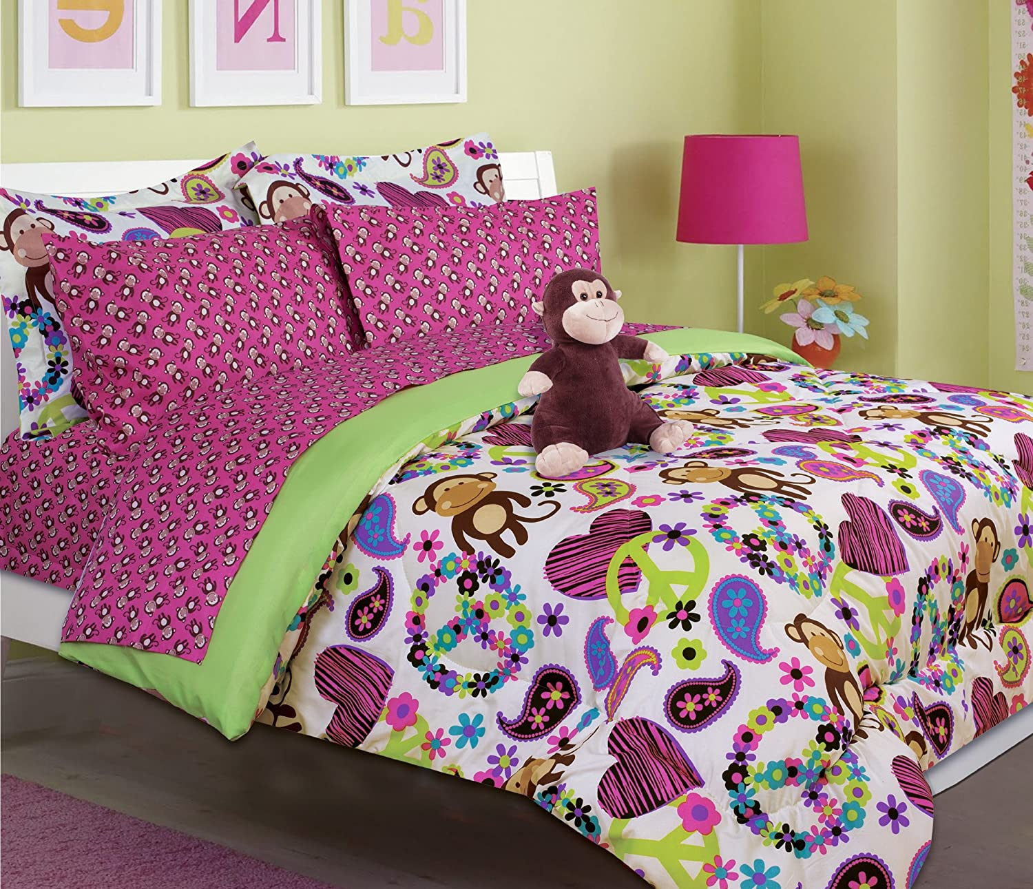 amazoncom girl's peace love and monkey print comforter set with  - amazoncom girl's peace love and monkey print comforter set with sheetset (twin size) home  kitchen