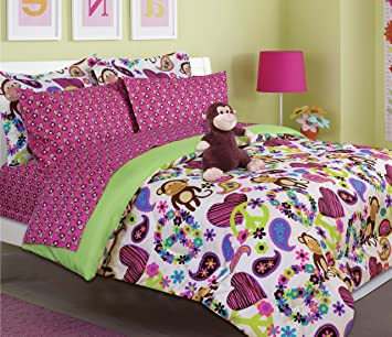 Amazon.com: Girl's peace, love and monkey print comforter set with ...