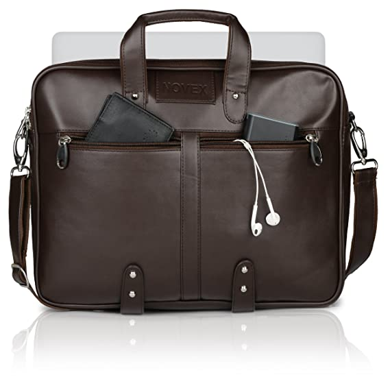6172a9c98 Novex Faux Leather 15-inch Laptop Bag (Brown): Amazon.in: Clothing &  Accessories