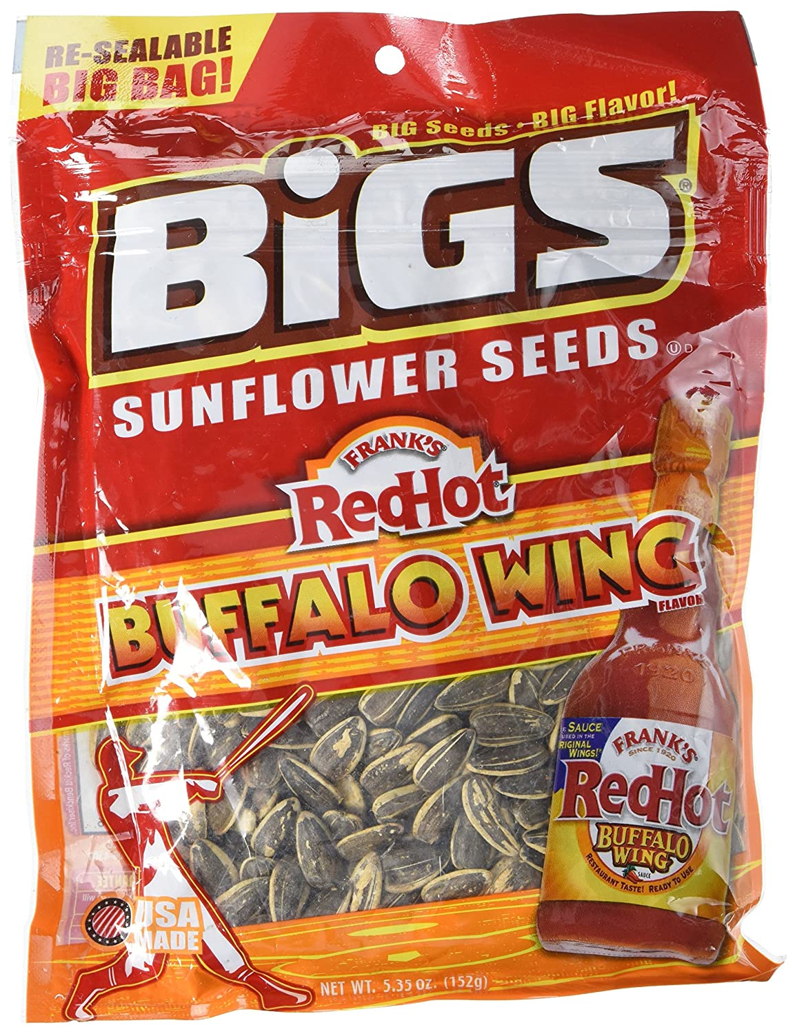 BIGS Bold and Tangy Buffalo Wing Sunflower Seeds 5.35 Ounces
