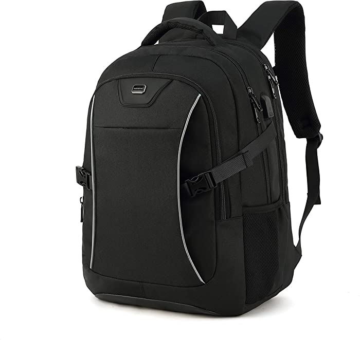 Travel Laptop Backpack, Drop Protection Computer Backpacks Durable Hiking Work Business Daypack Water Resistant Schoolbag with USB Charging Port, Gifts for Men Women Boys Girls fits 15.6 Inch Laptops(15.6 Inch, Black)