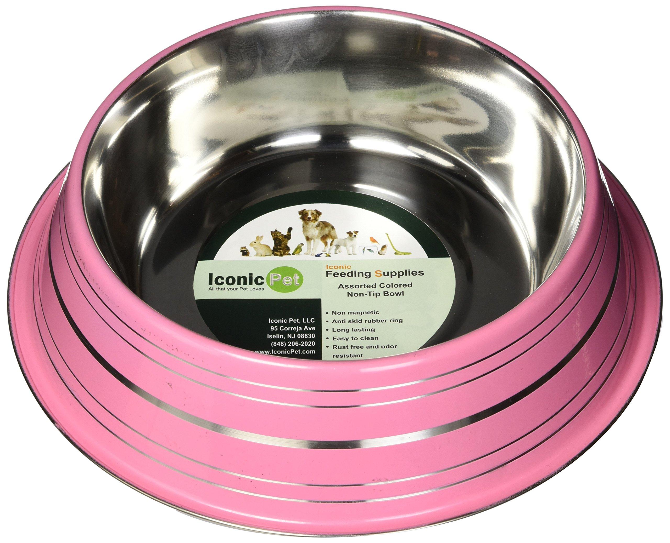 Iconic Pet Color Splash Stripe Non-Skid Pet Bowl, 64-Ounce, Pink
