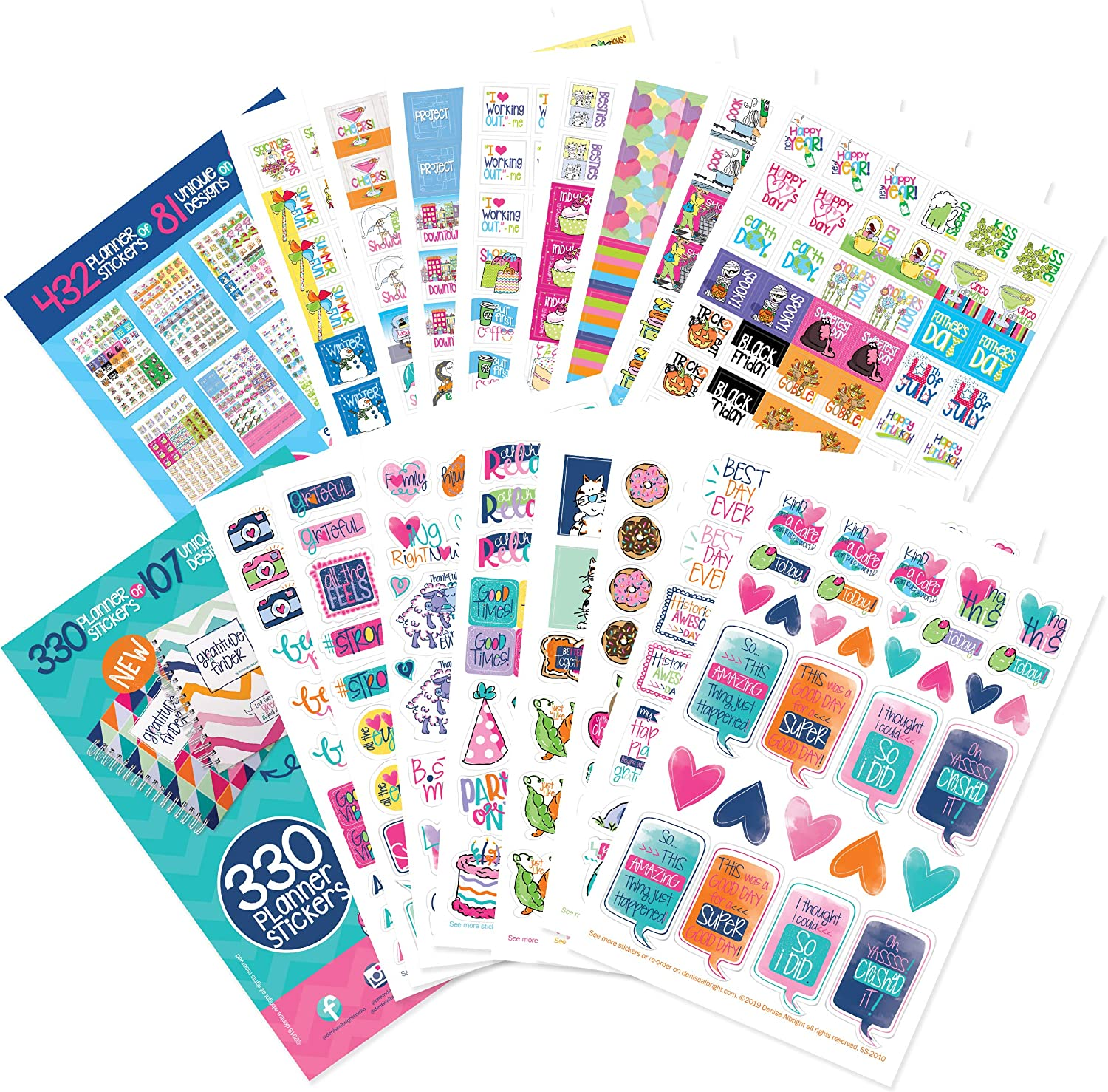 762 Planner Stickers Bundle for Every Gal Including Holidays, Birthdays, Date Nights, Party, Work Deadlines, Travel for Calendars and Daily Thankfulness & Gratitude Journals & Bullet Journaling