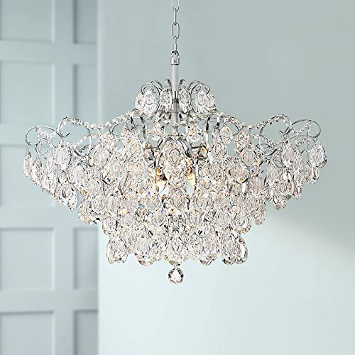 Petunia Chrome Chandelier 28″ Wide Clear Crystal 12-Light Fixture