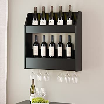 Floating Wine Rack Liquor Bottle Storage Glass Holder Bar Wall Mount Pub  Sturdy Black Modern Holds