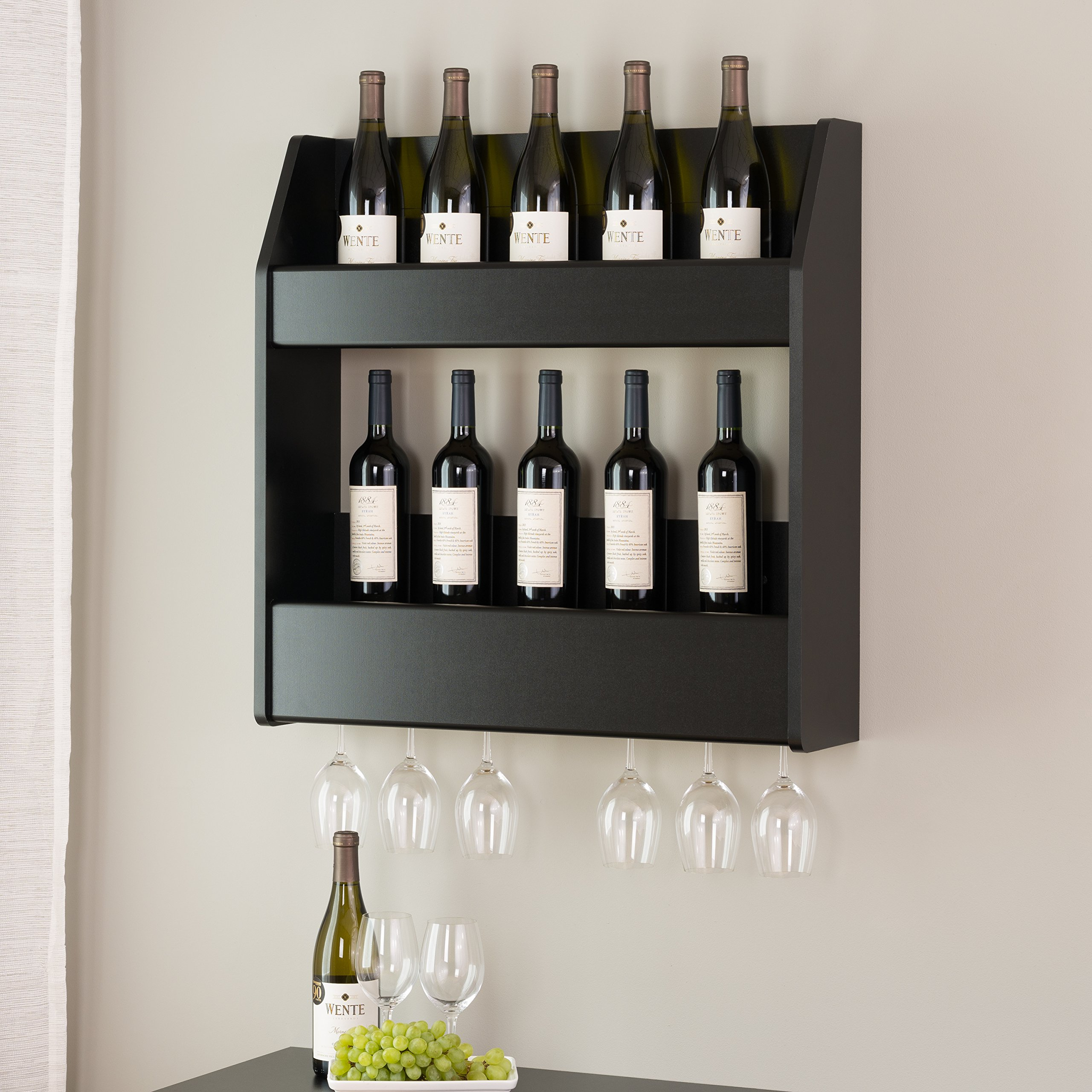Floating Wine Rack Liquor Bottle Storage Glass Holder Bar Wall Mount Pub Sturdy Black Modern Holds 20 Bottles