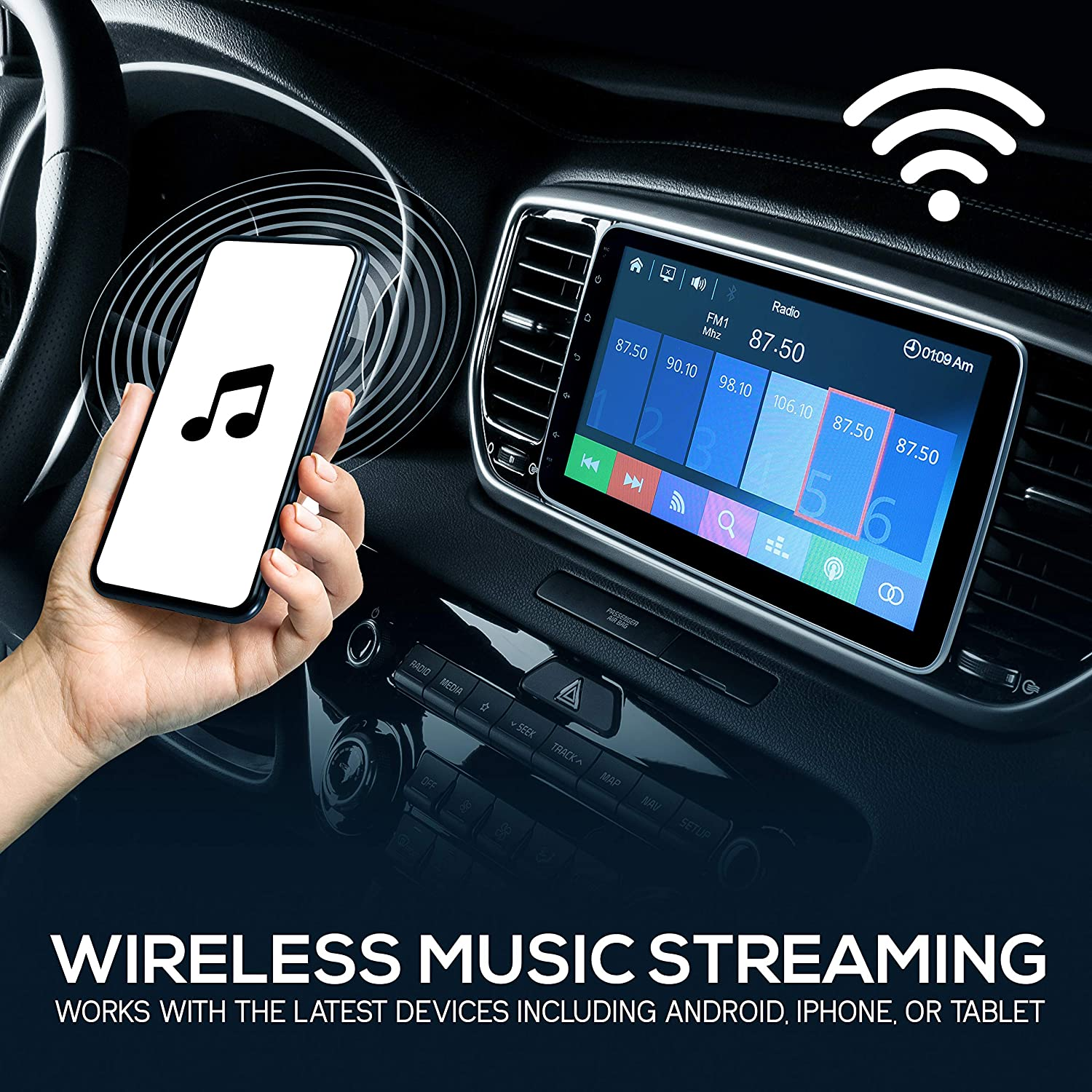 Bluetooth Indash Car Stereo Touch Screen Receiver Head Unit with Backup Camera Steering Wheel Control USB Phone Link 10.1-Inch Single DIN Car Stereo Hands-Free Call Pyle PL1SN104 AM FM Radio