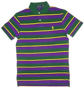 Polo Ralph Lauren Men's Custom Fit Multi Stripe Pony Shirt-Holiday Green-Small  at Amazon Men's Clothing store: