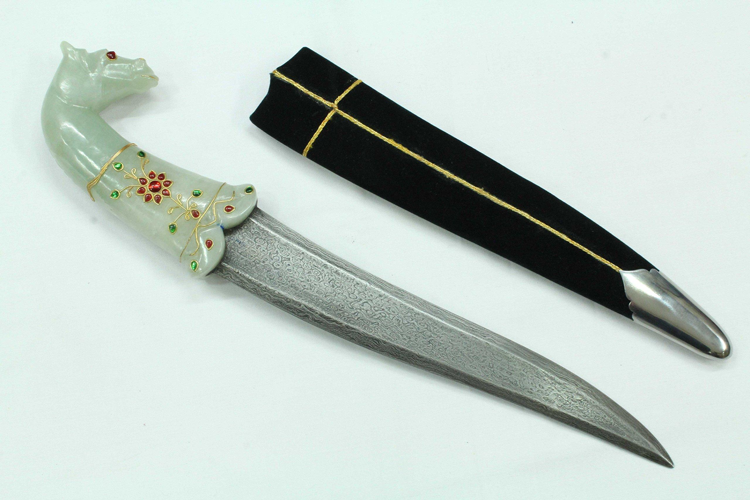 Rajasthan Gems Jade Zircon stone Jewel Horse Face Handle Dagger Knife Damascus steel blade