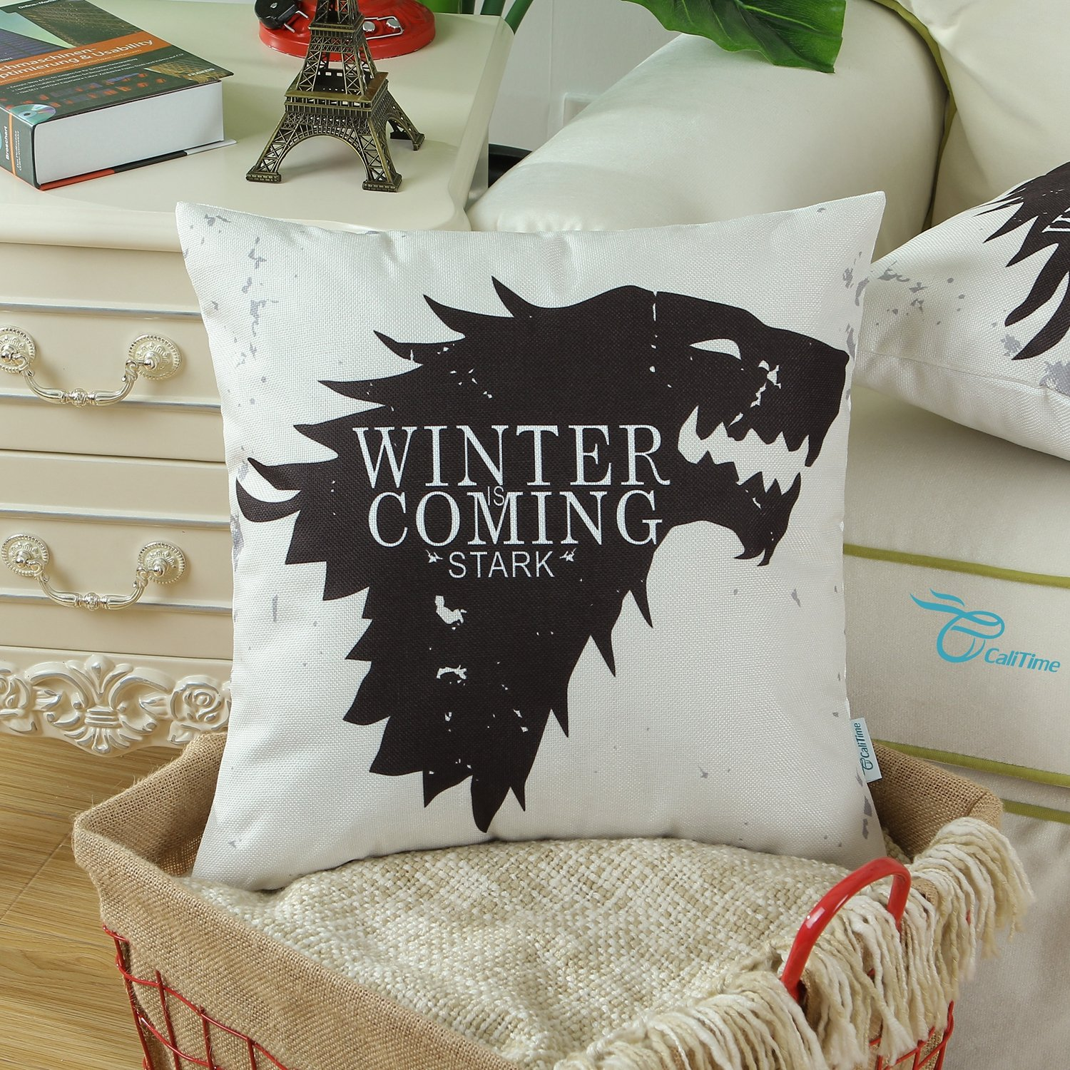 CaliTime Cushion Covers Bolster Pillow Case Shells for Bed Sofa Couch 45cm X 45cm, A Game of Thrones, Houses Stark Winter Is Coming Qingdao Ray Trading Co. Ltd. DSCF015A