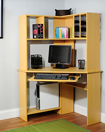 Nice Target Marketing Systems Morgan Collection Ultra Modern Corner Computer Desk  And Hutch With Keyboard Tray And