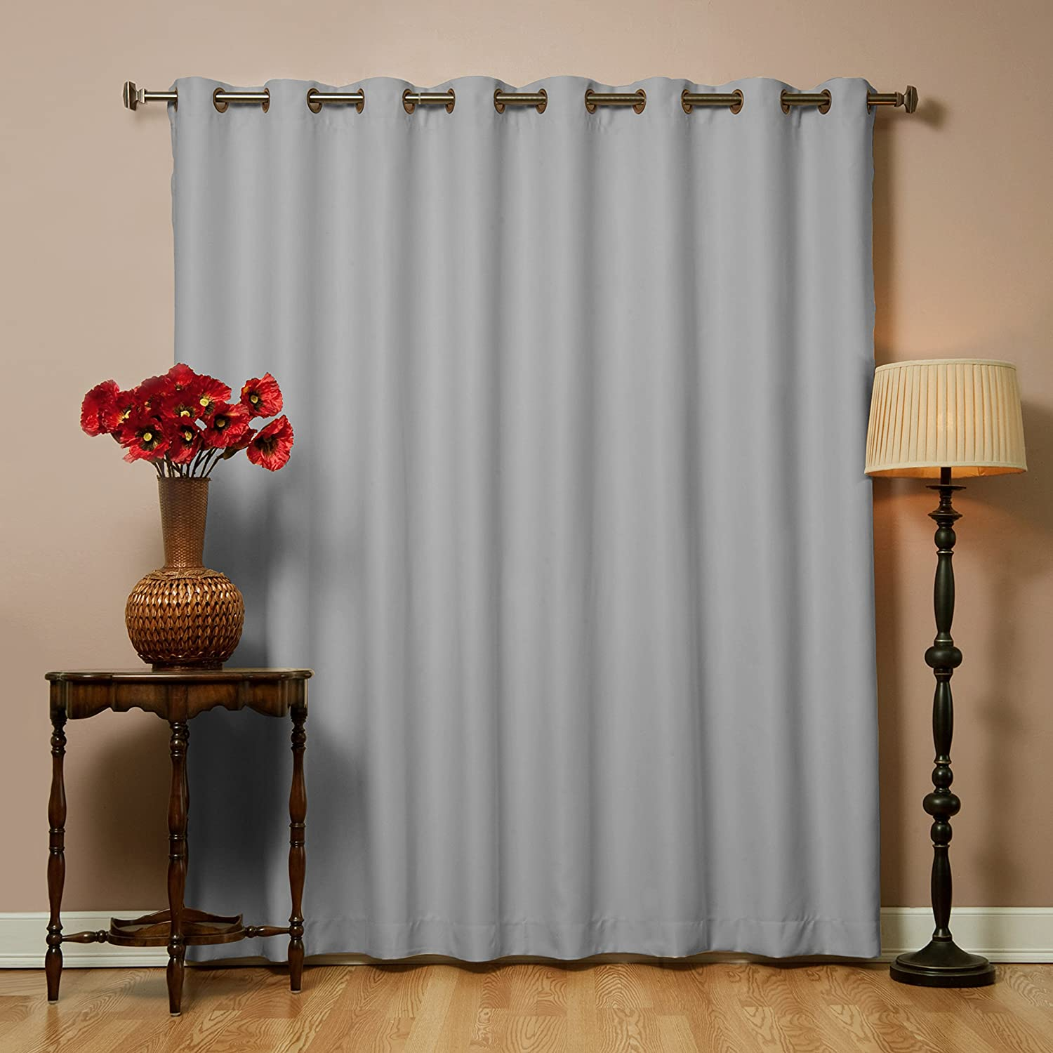 "Best Home Fashion Wide Width Thermal Insulated Blackout Curtain - Antique Bronze Grommet Top - Grey - 100"" W x 96"" L - (1 Panel)"
