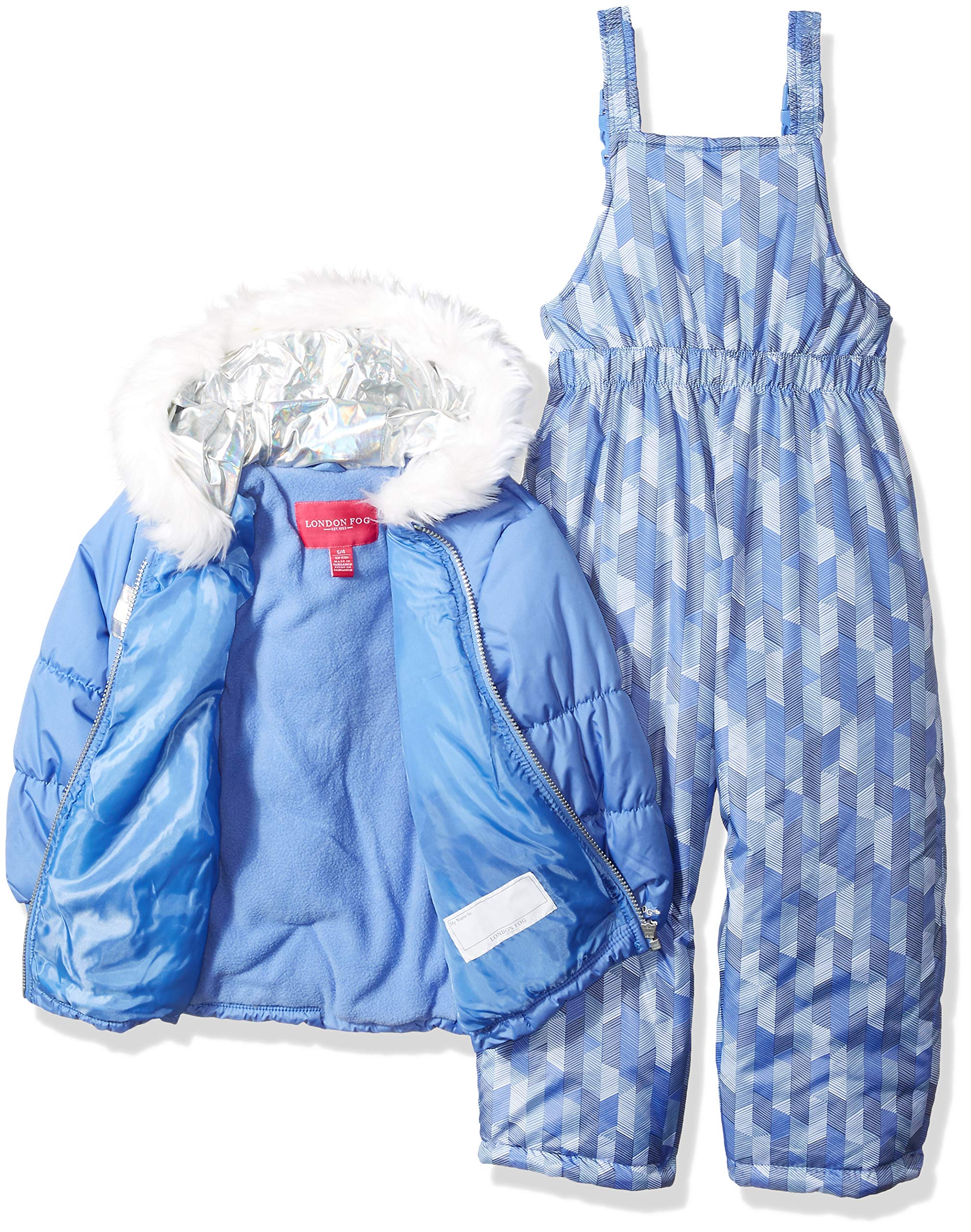 London Fog Girls' Little' Snowsuit with Snowbib and Puffer Jacket, Lavender Blue Periwinkle, 5/6 by London Fog (Image #2)