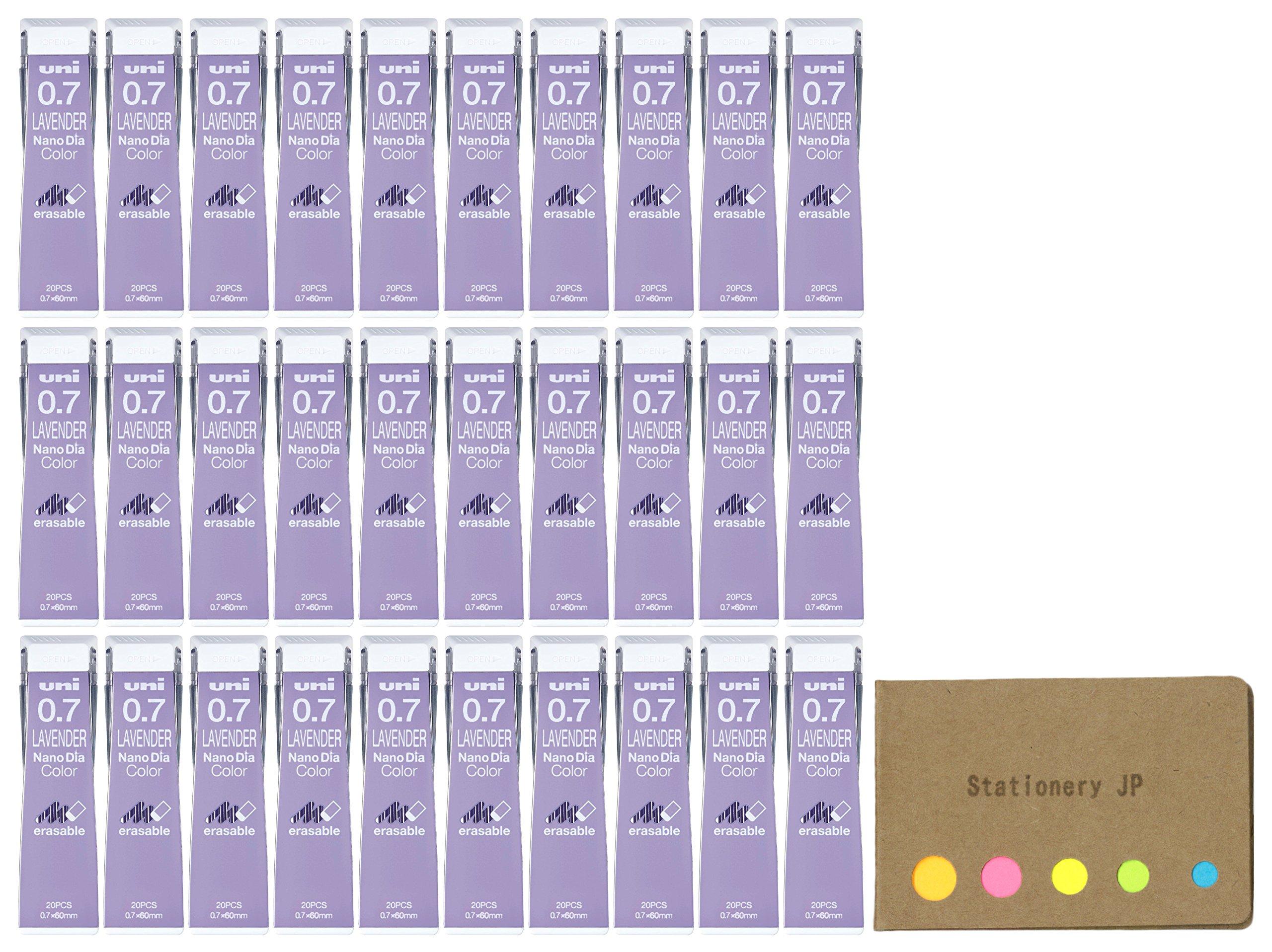 Uni NanoDia Color Mechanical Pencil Leads, 0.7mm, Lavender, 30-pack/total 600 Leads, Sticky Notes Value Set