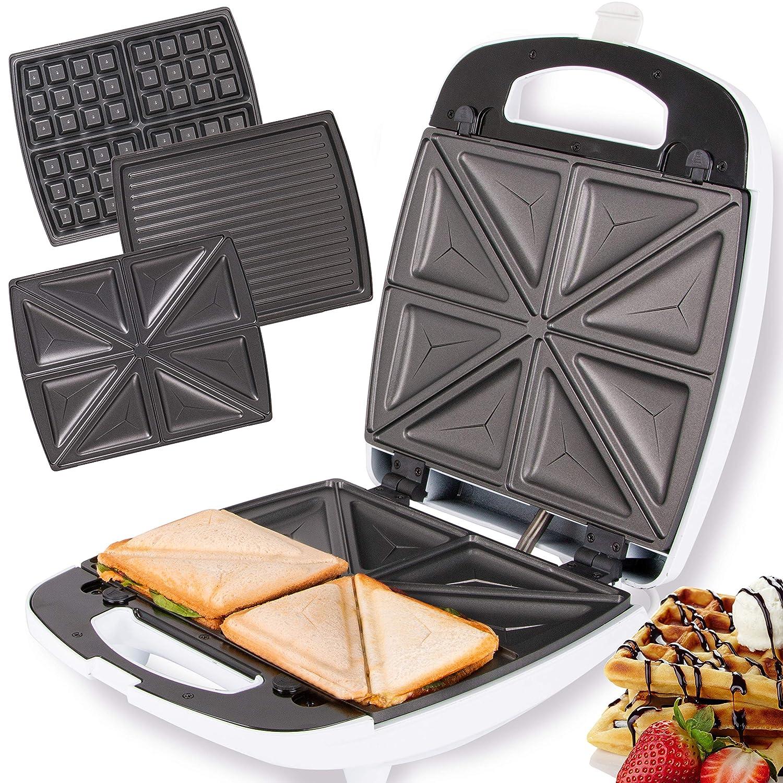 4 Scheiben Sandwichmaker XXL Sandwichtoaster Elektrogrill Tischgrill 1200W DE