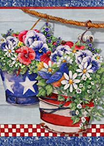 Covido Home Decorative Spring Garden Flag Pansy Daisy Flowers, USA House Yard Lawn Blue Bird Decor, July 4th Patriotic American Outside Decorations Summer Outdoor Small Flag Double Sided 12 x 18