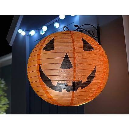 Pre-Lit Giant 40cm Pumpkin Lantern with 6 White LED lights Halloween Decoration