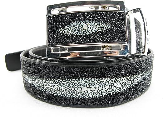 PELGIO Genuine Stingray Shagreen Skin Leather 1 Diamond Mens Belt 46 Black