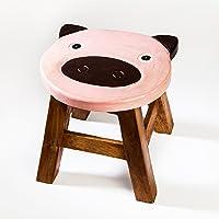 Tabouret solide pour enfant, bois, Motif: cochon