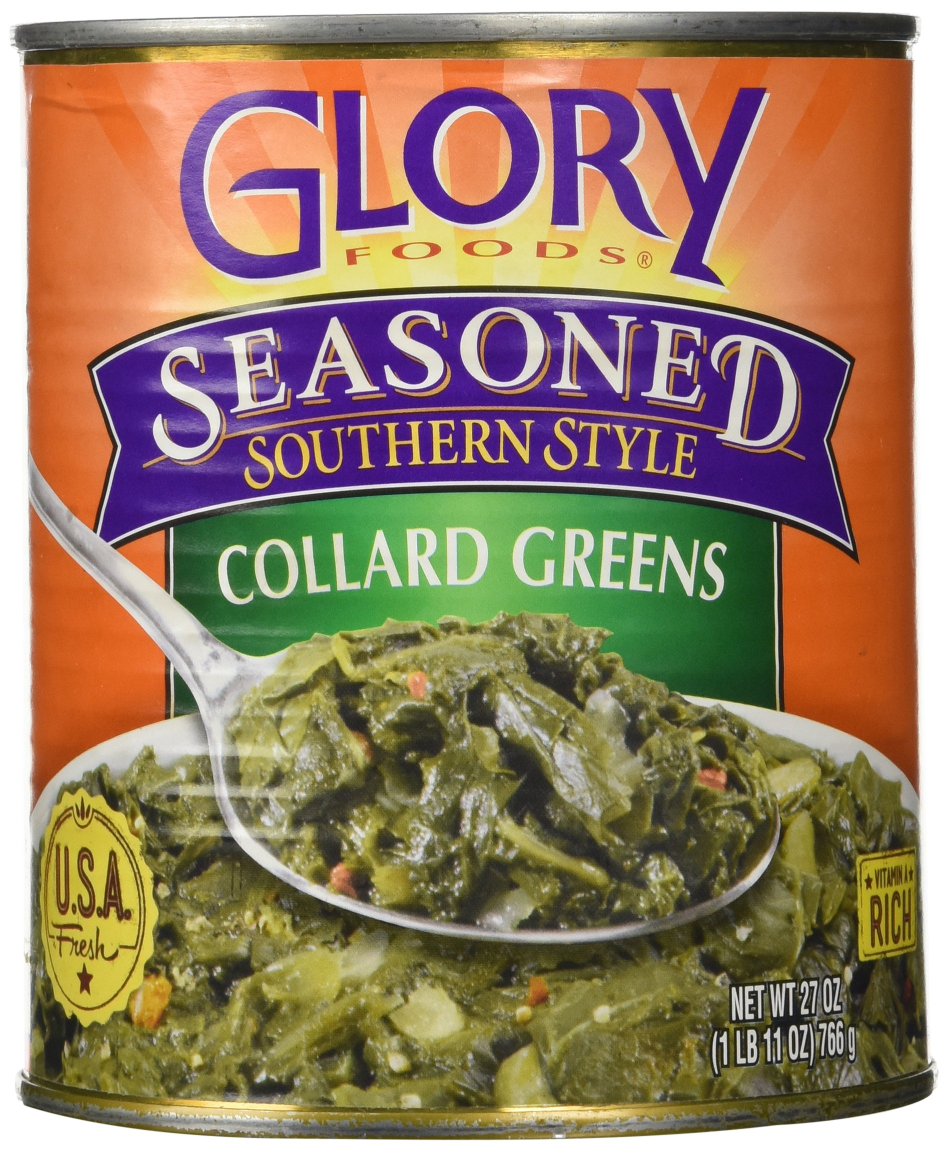 Glory Foods Seasoned Collard Greens, 27-Ounce (Pack of 6)