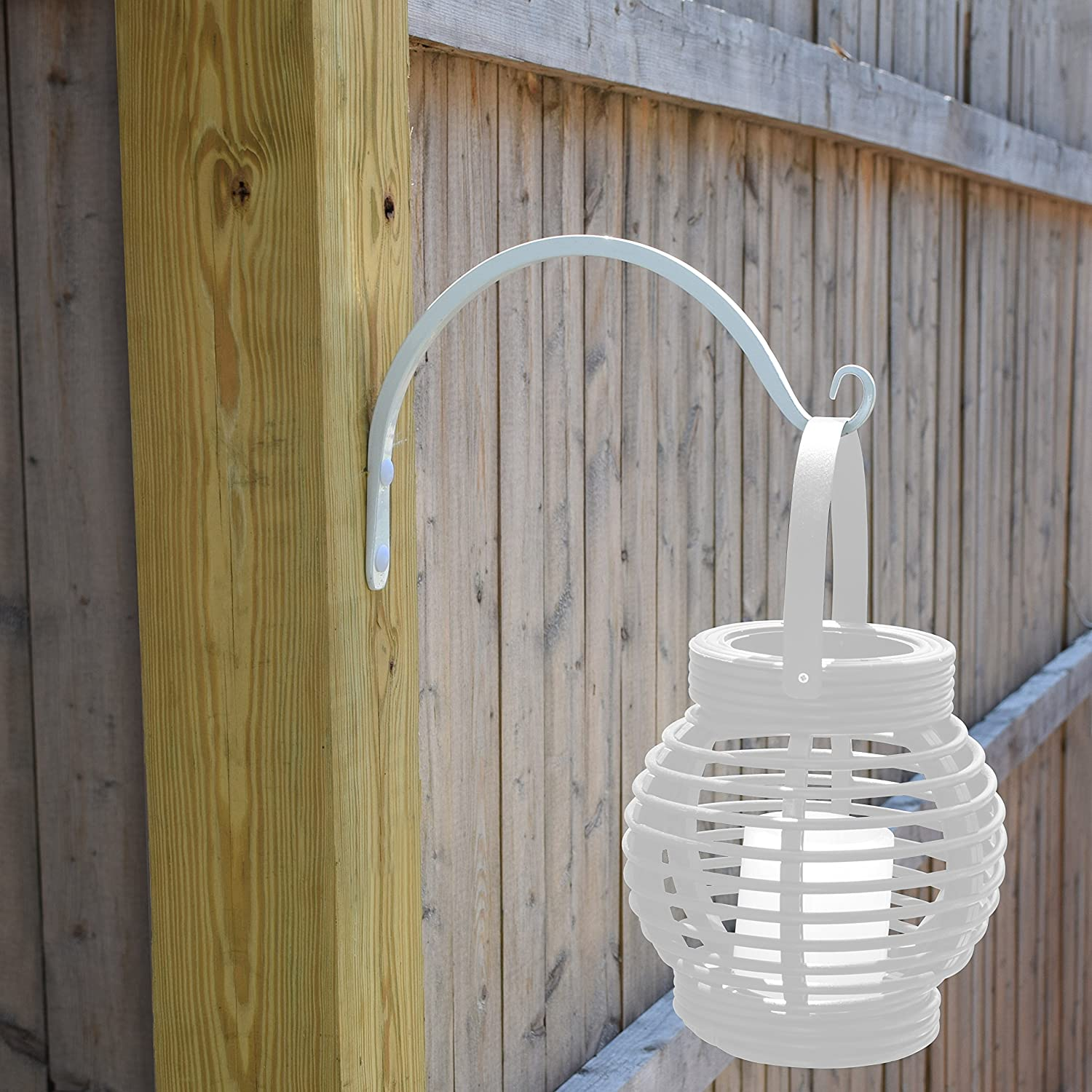 Wind Chimes Planters for Bird Feeders Lanterns 8.5 Inch As Wall Brackets and More! Gray Bunny GB-6863 Hand Forged Curved Hook White